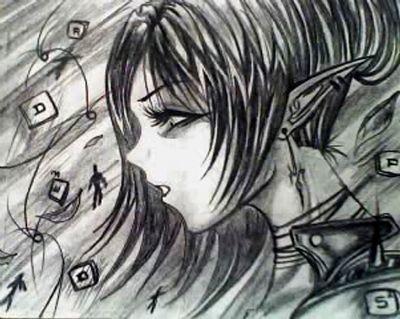 zwart wit tekening depressief meisje